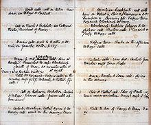 Neat and organized handwritten page from William Godwin's journal.
